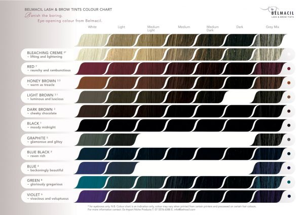 Belmacil Colour Indication Result Chart for Belmacil Lash and Brow Tints