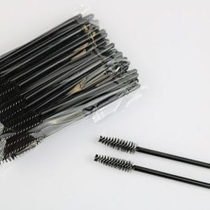 50 disposable mascara brush spoolies in a clear sealed plastic bag