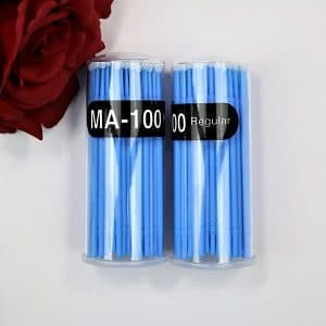 clear plastic tube of 100 regular blue micro brushes