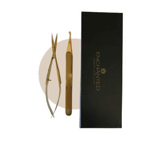 Brow tweezer kit with long handled brow scissors
