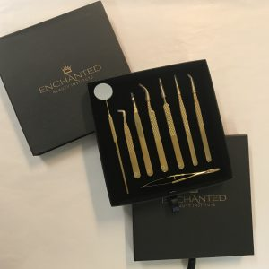 The Elegance Collection tweezer kit stylish black box