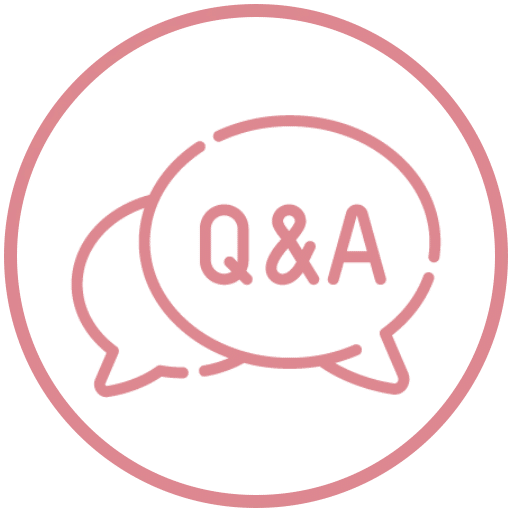 two interlaced chat symbols for questions and answers