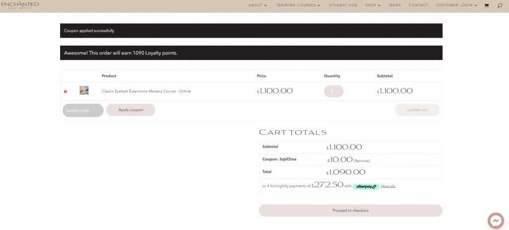 loyalty points coupon applied to course order