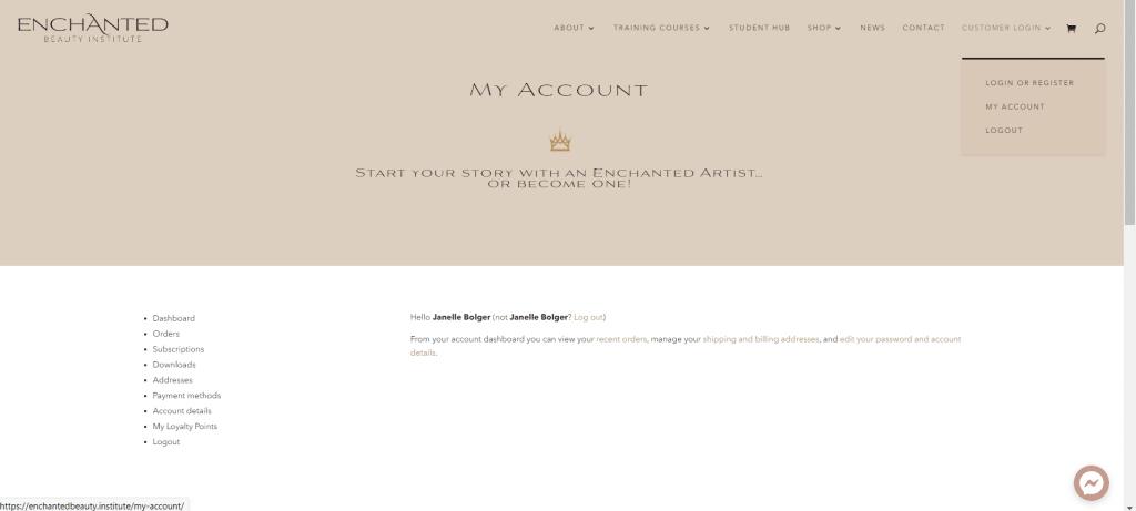 my account menu in customer login area